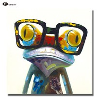 CHENFART Decorative Paintings SmArt Frog Hipster Froggy Animal Art Painted on Canvas Wall Pictures for Bedroom