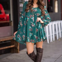 James Dean Daydream Long Sleeve Floral Shift Dress (Emerald)