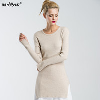 FROMMAZZ 2016 New Autumn Winter Women Fashion Elasticity Sweater Slim Knitted Pullover Round Neck Long FS16081