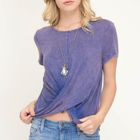 Short Sleeve Cross Band Knit Top with Garment Wash Detail - Purple Blue