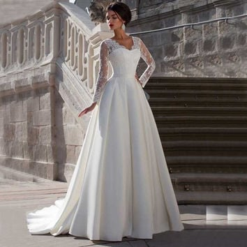 V Neck Long Sleeve Lace  Wedding Dresses With Pleated Plus Size