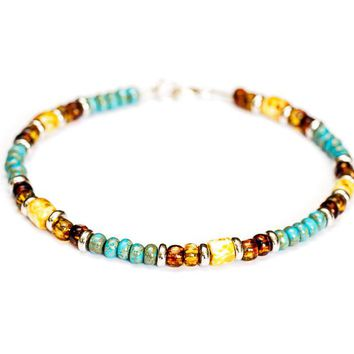 Multicolor Turquoise Bead Bracelet in Sterling Silver - Women's and Men's Bracelet