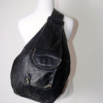 Vintage 1990s oversize extra large huge BLACK soft distressed LEATHER one shoulder BACKPACK rucksack