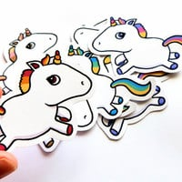 Cute stickers - medium-sized unicorns - pack of 8
