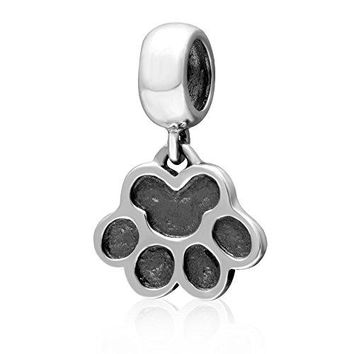 Ollia Jewelry Antique 925 Sterling Silver Dangle Beads I Love My Pet Charm Puppy Dog Cat Paw Print Charms