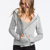 Full Tilt Sweater Knit Sherpa Womens Hoodie Black/Grey  In Sizes