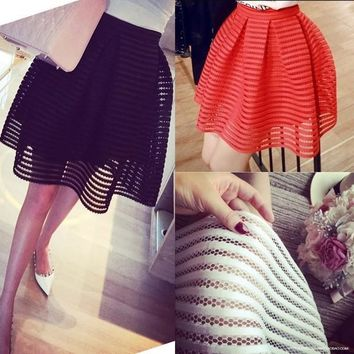 Sexy Skirt Womens High Waist Striped Hollow-out Skirts Ladies Maxi Midi-Long Skirt = 5738997633