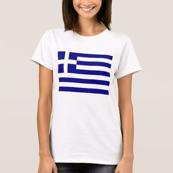 Women T Shirt with Flag of Greece