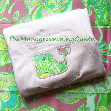 Lilly Pulitzer Monogram pocket whale tee vineyard vines inspired