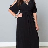 SIMPLE - Extra Large Black Long Slim Design Women Dress b5375