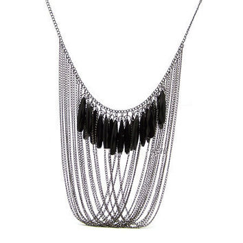 Handmade Silvery Tassel Multilayer Necklace with Black Gemstone, Women's Fashion Necklace, Party Accessory, Bridal Jewelry 10080416