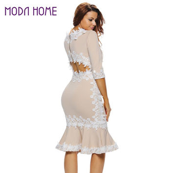 Women Zip Back Bodycon Dress Crochet Lace Splice Back Cut Out Half Sleeve Mermaid Dress Beige Robe  SM6
