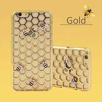 iPhone 6 / 6S 4.7 Case Electroplate bling 3D Bee Honeycomb Diamond Case