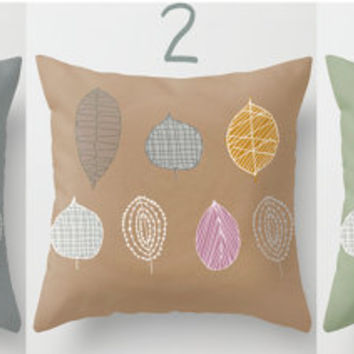 Decorative Throw Pillow Leaves. Cover or insert.  small / medium / big. Contemporary.
