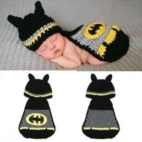 Hot Sale Unisex Cute Kintted Hand Crochet Baby Photography Props Newborn BATMAN Hat and Cover Set Infant Animal Beanie Hats New