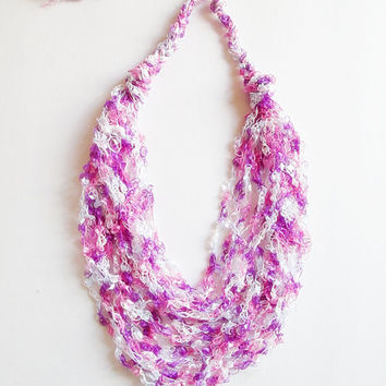 Ladder Yarn Necklace, Trellis Yarn Necklace, Ribbon Yarn Necklace, Easter Necklace, Pink, Lavender, And White