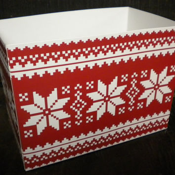 Christmas Poinsettia Star Gift Box, Holiday Theme Red & White Gift Basket Box, Winter Cardboard Container Centerpiece Base