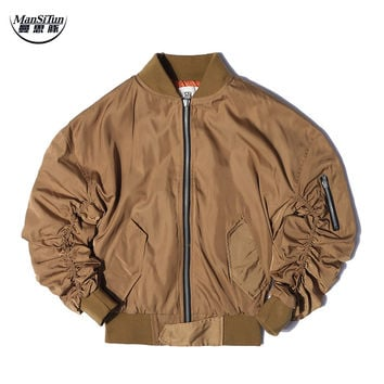 Man Si Tun  FEAR OF GOD JUSTIN BIEBER High street Clothes Clothing Mens jackets kanye west pilot flight satin ma1 bomber jacket