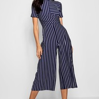 Kitty Striped Wrap Culotte Jumpsuit | Boohoo