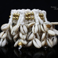 Shell Armband-Armlet - Upper Arm Cuff Woven Fringe Boho/Hippie/Bohemian Upper Arm Cuff -Seven Linked Strand Cowrie Shell Tribal Chic Jewelry