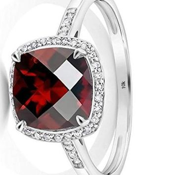 CERTIFIED 2.40 Ct 10K White Gold Cushion Checkerboard Red Garnet Engagement Ring