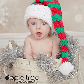Crochet Pattern for Christmas Stocking Cap, Santa or Elf Hat - 9 sizes, baby to large adult - Welcome to sell finished items
