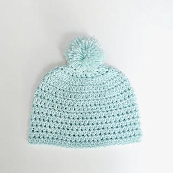 SALE! Mountainside Pom Beanie Mint Crochet Hat Women Winter Accessories Knit Christmas Gift For Her Handmade Pom-Pom Accessory Turquoise