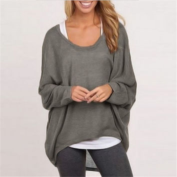 Women Pullover Shirt Batwing Long Sleeve Casual Loose Solid Tops Sweater Blusas Femininas