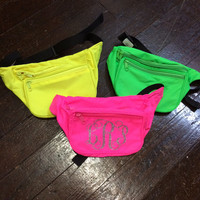 Monogrammed Neon Fanny Pack. Great for Sorority, Big/Little, Vacations, or Bachelorette Weekends!