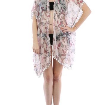 Pink Butterfly Print Sheer Cover Up Poncho