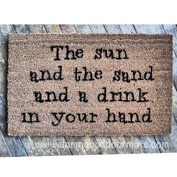 Sun sand drink in hand doormat