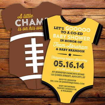 10 Football Baby Shower Invitations, all star invitation -- Onesuit Die Cut shaped -- Double sided in any team colors, NFL, College