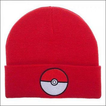 Pokemon Go Pokeball RED Cosplay Roll Slouch Cuff Knit Beanie Cap Hat OFFICIAL