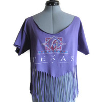 Upcycled Fringe Shirt Texas Native American Repurposed T-Shirt Vintage One Size