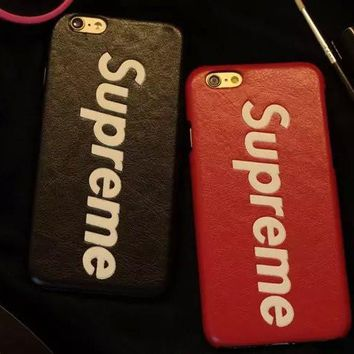 Leather street fashion supreme Case for iPhone
