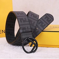 FENDI Hot Sale Fashionable Woman Men Personality F Letter Smooth Buckle Leather Belt