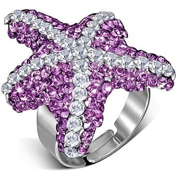 ON SALE - Pink Starfish Adjustable Cocktail Ring
