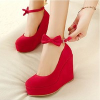 [7.05] In Stock Beautiful Red Suede Round Closed Toe Super High Heel Wedges - dressilyme.com
