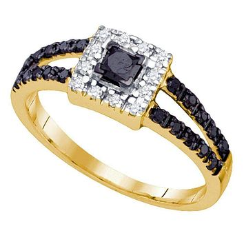 14kt Yellow Gold Women's Princess Black Color Enhanced Diamond Halo Bridal Wedding Engagement Ring 1/2 Cttw - FREE Shipping (US/CAN)