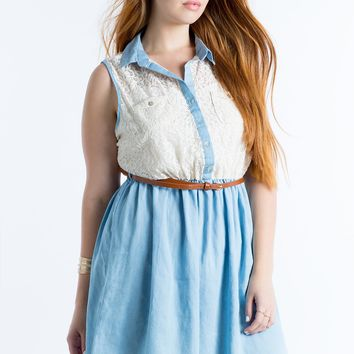 Allie Crochet Chambray Dress