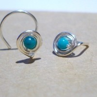 nose stud...sterling silver..NOSE COIL..arizona turquoise ...