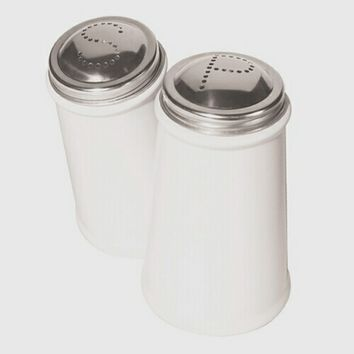 White 2 Piece Salt and Pepper Shaker with Stainless Steel Tops