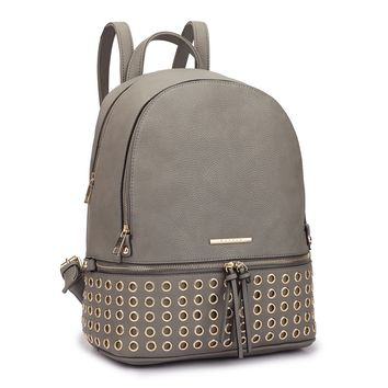 DASEIN - Faux Leather Round Studded Fashion Backpack*