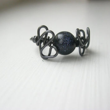 Wire wrapped Blue goldstone beaded ring-6 1/2