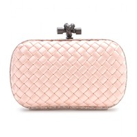 bottega veneta - knot satin and snakeskin clutch