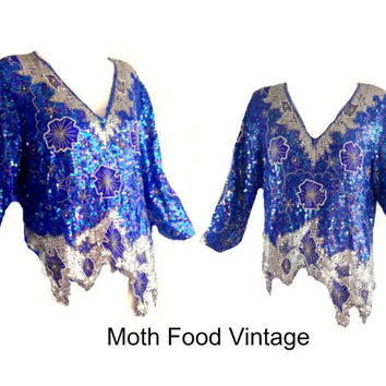 ViNtAgE 80's Sequin Top Beaded  Deco Jagged Hem Gatsby Cocktail iridescent Party Deco Trophy Dress Blouse Disco Asymmetrical Blue Silver