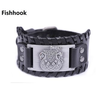 Fishhook Unique Design Hidden Dragon with Irish Knot Amulet Wide Black Leather Men's Bracelet