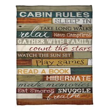 Cabin Rules Fleece Throw