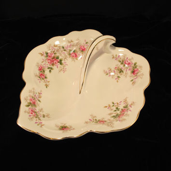 Royal Albert - Lavender Rose - 2 Part Divided Leaf Dish, Pink Roses, Gold Trim