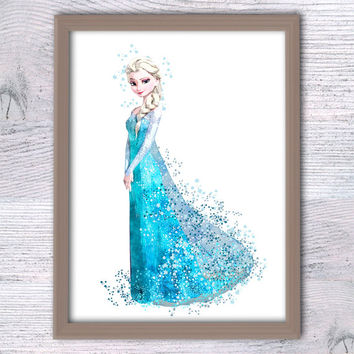 Frozen Elsa Print, Frozen Disney wall decor Frozen Watercolor, Elsa Art Print, Frozen Wall decor, Disney Princess Poster, Frozen nursery V82